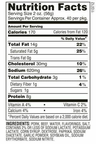 Louisiana Red Hots nutrition facts
