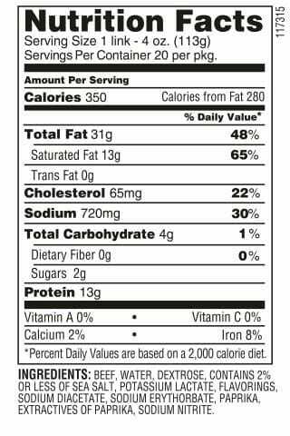4/1 Franks nutrition facts