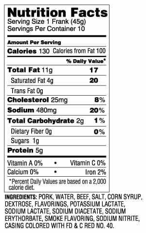 Nutrition Label - 10/1 Franks