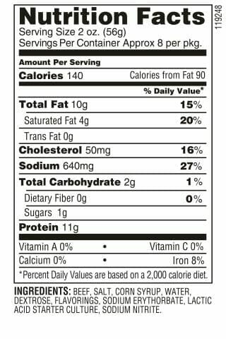 Nutrition Label - Beef Tangy Summer Sausage