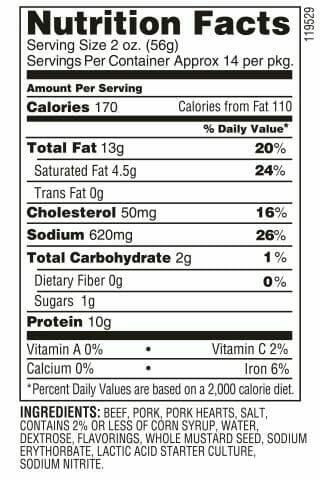 Nutrition Label - Original Tangy Summer Sausage