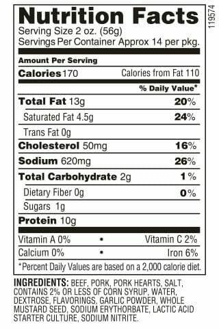 Nutrition Label - Garlic Tangy Summer Sausage