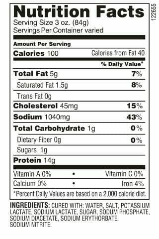 1/2 Teardrop ham nutrition facts