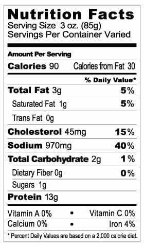 Nutrition Label - 1/4 Teardrop Ham