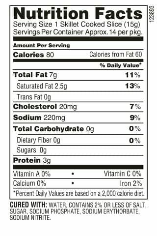 Applewood Bacon Nutrition Facts