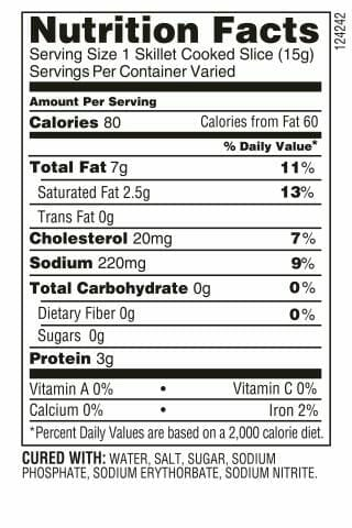 Nutrition Label - Hickory Bacon