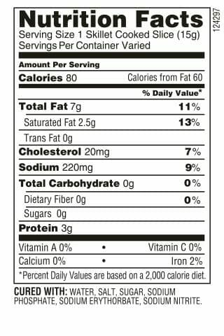 Nutrition Label - Triple Slow Smoked Bacon