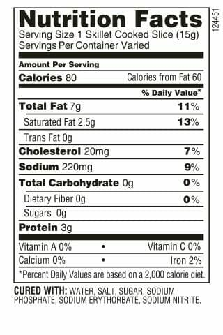 Nutrition Label - Thick Cut Bacon