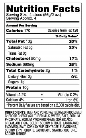 Nutrition Label - Sliced Cheddar Tangy Summer Sausage