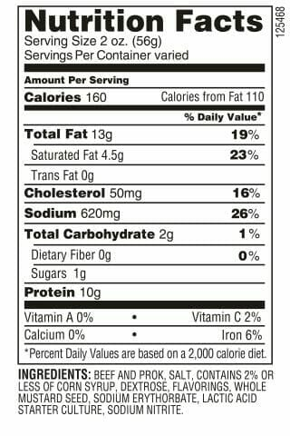 Tangy summer sausage Grandeli log nutrition facts