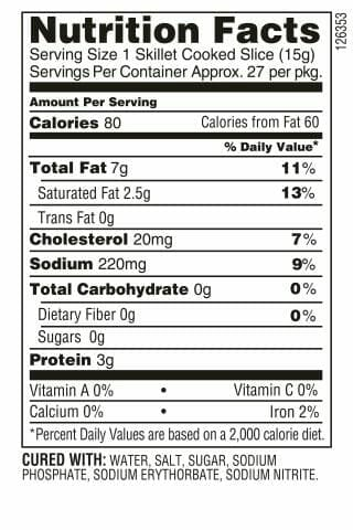 Nutrition Label - Extra Thick Cut Bacon