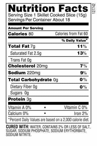 Nutrition Label - Peppered Bacon