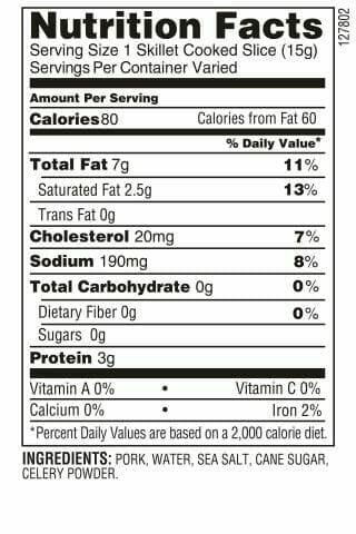 Nutrition Label - Uncured Bacon