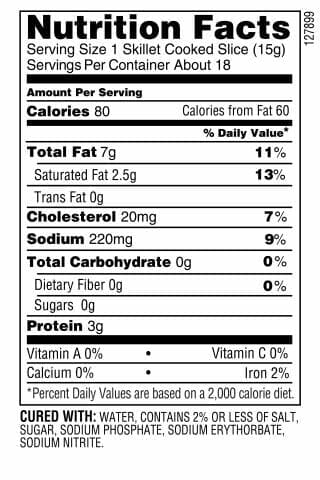 Nutrition Label - Applewood Bacon