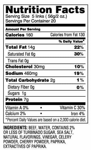 Nutrition Label - Uncured Beed Lil Smokies