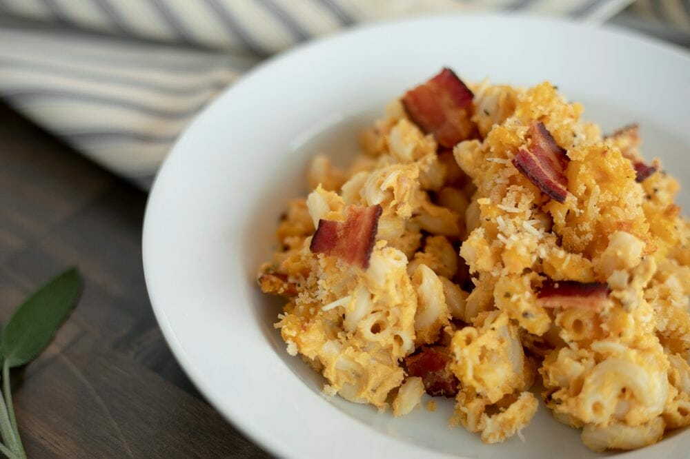 Baked Pumpkin Mac & Cheese with Bacon