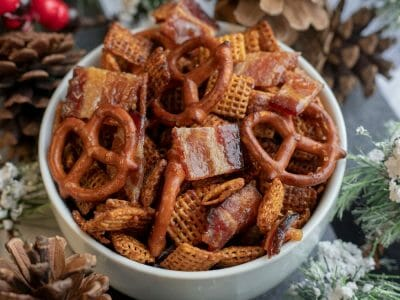 Candied Chipotle Garlic Bacon Chex Mix