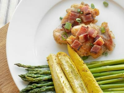 Chicken and Asparagus with Cloverdale Bacon Skillet