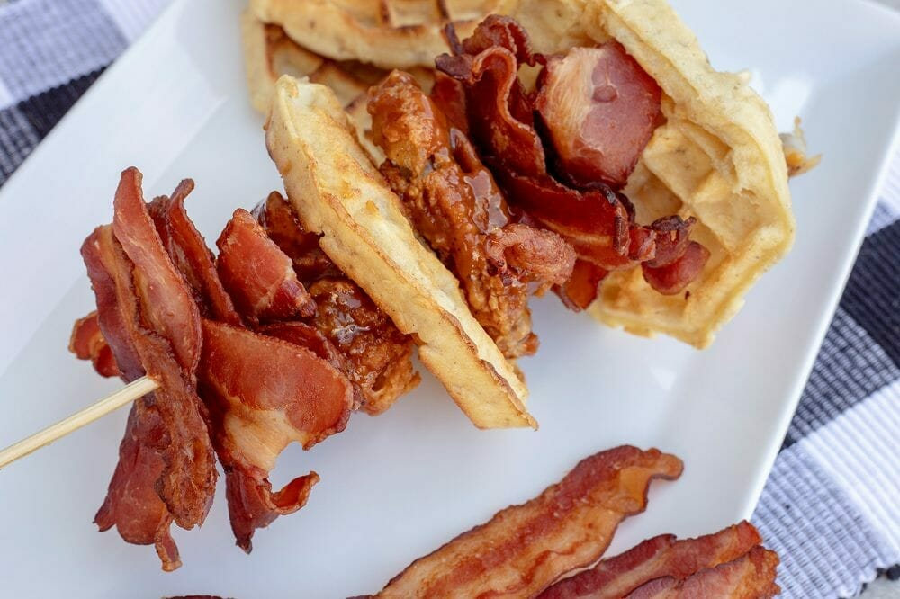 Cloverdale Bacon Waffle Skewers with Korean Fried Chicken
