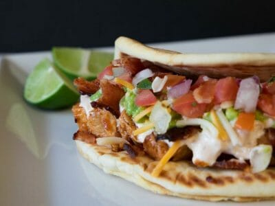Cloverdale Chipotle Lime Chicken Bacon Flatbread Tacos