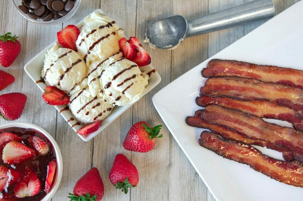 Strawberry Sundae with Candied Chipotle Garlic Bacon