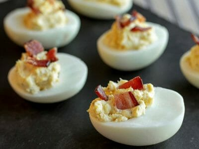 Deviled Eggs with Bacon and Cream Cheese