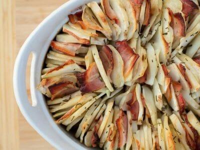Garlic & Rosemary Scalloped Potato Bacon Roast