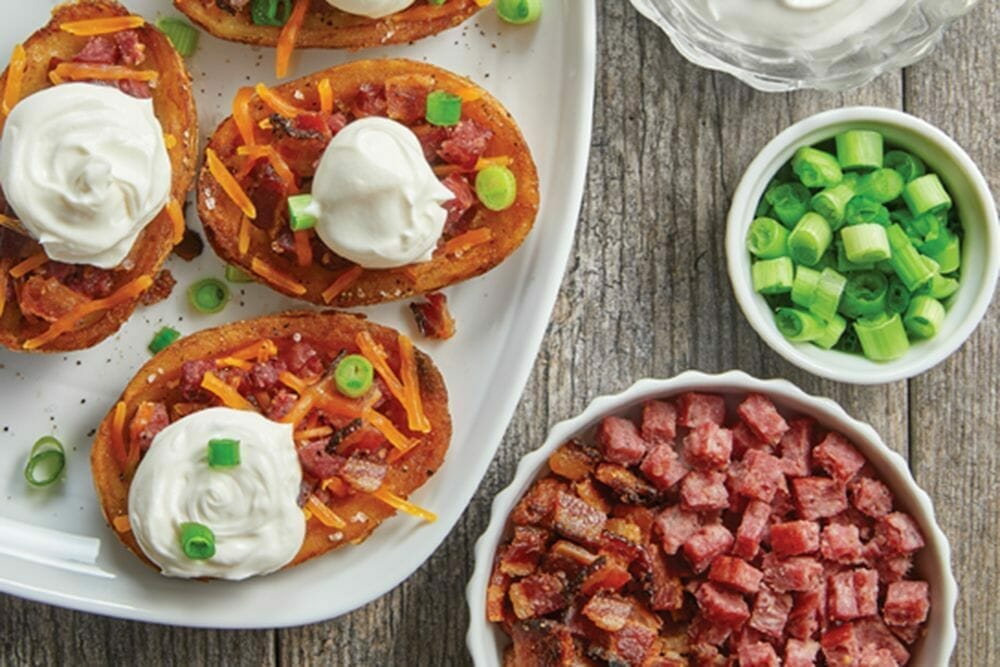 Quick game day meat lovers potato skins