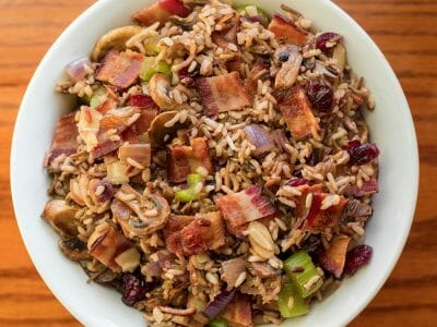Wild Rice Stuffing with Cloverdale Bacon